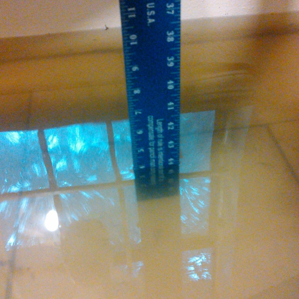 Water depth kitchen April 15 2016